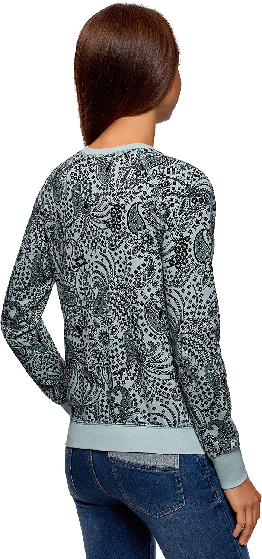 oodji Ultra Femme Sweat-Shirt Basique Imprim/é
