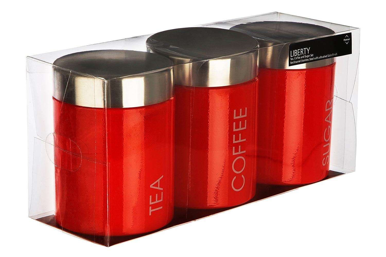 Emaille Gr/ün 9x9x13 Premier Housewares Liberty Behlter f/ür Tee Kaffee und Zucker Lindgr/ün