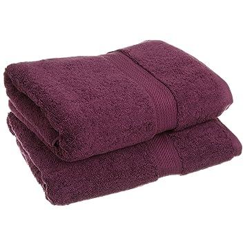 Superior - Juego de Toallas de baño de algodón de 900 g/m2, Color Morado Ciruela, 2 Piezas: Amazon.es: Hogar