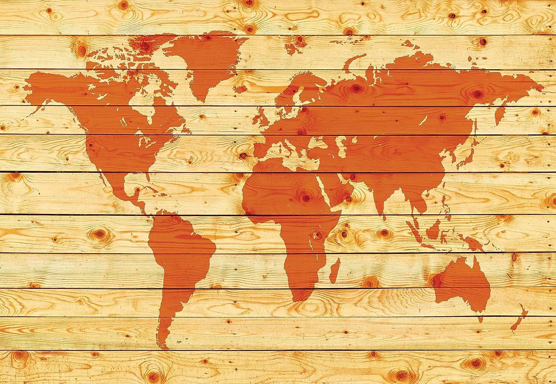 World Map Wood Planks - Photo Wallpaper - Wall Mural ...