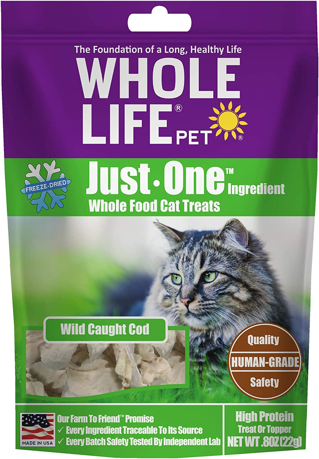 Whole Life Pet USA Sourced and Produced Human Grade Freeze Dried Boneless, Skinless Wild Cod Filet Cat Treat, Protein Rich for Training, Picky Eaters, Digestion, Weight Control
