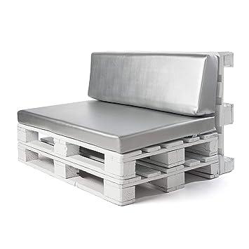 Conjunto colchoneta para sofas de palet y respaldo Gris Plata (1 x Unidad) Cojin relleno con espuma. | Cojines para chill out, interior y exterior, ...