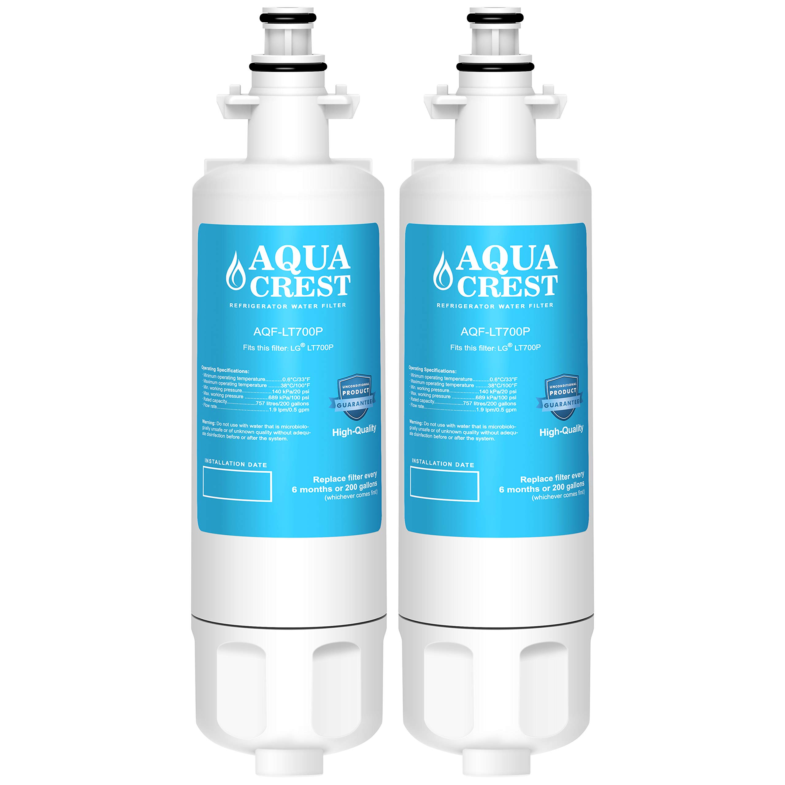 AQUACREST LT700P Replacement Refrigerator Water Filter, Compatible with LG LT700P, Kenmore 9690, 46-9690, ADQ36006101, ADQ36006102 (Pack of 2)
