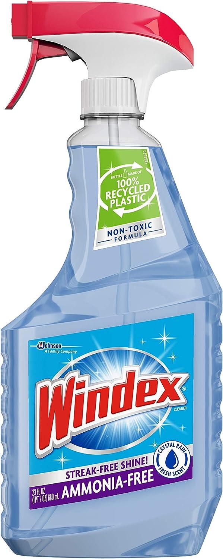 Windex Ammonia-Free Glass Cleaner Trigger Bottle, Crystal Rain, 23 Fl Oz