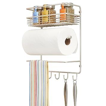 mDesign Portarrollos de cocina – Soporte de pared metálico para rollos de cocina con estantes para