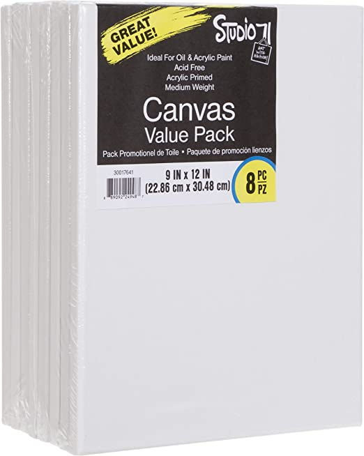 Primed 12 by 12 inch Traditional Stretched Canvas Darice Studio 71 Medium Weight
