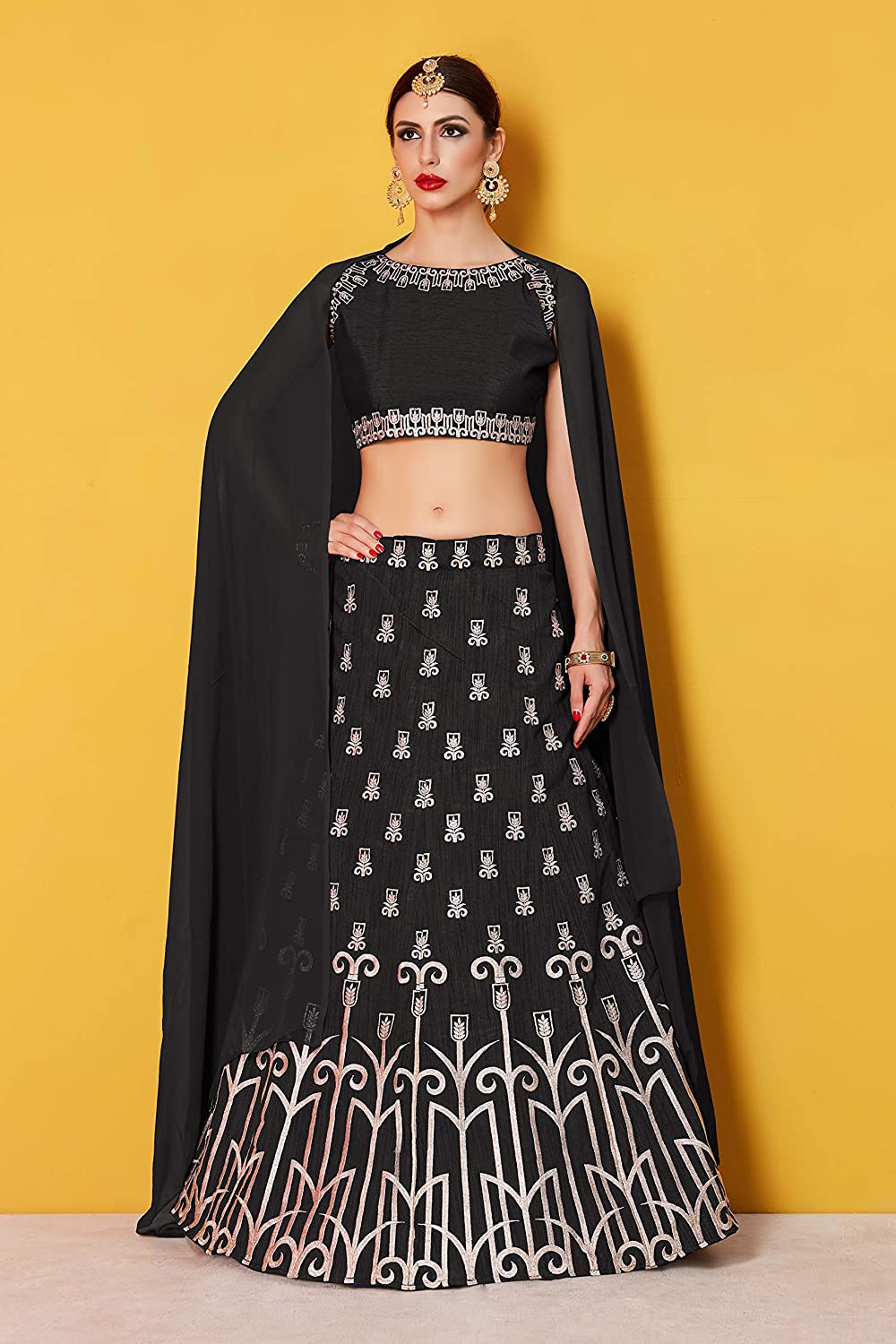 447e0a3598 SK Clothing Bridal Collection Black Art Silk Lehenga Choli With Georgette  Dupatta for women(AD513, Free size, Black): Amazon.in: Clothing &  Accessories