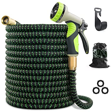 VIENECI 100ft Garden Hose Upgraded Expandable Hose, Durable Flexible Water Hose, 9 Function Spray Hose Nozzle, 3/4  Solid Brass Connectors, Extra Strength Fabric, Lightweight Expanding Hose