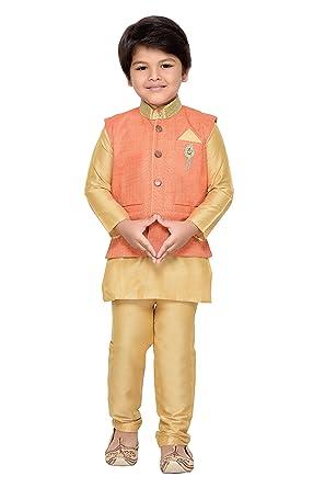 4cdad2584c Amazon.com: AJ Dezines Kids Indian Wear Bollywood Style Kurta Pyjama  Waistcoat for Boys (674-ORANGE-16): Clothing