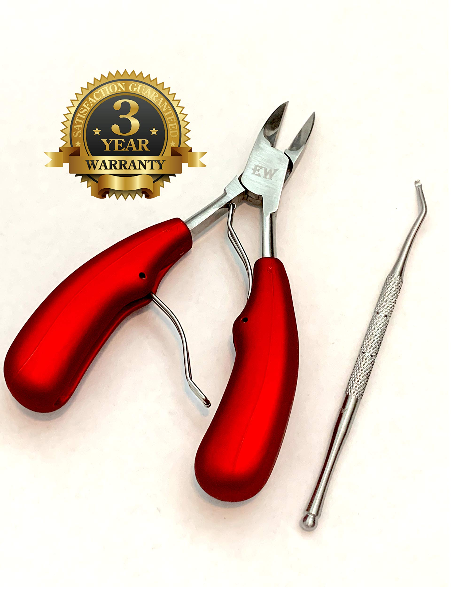 Toenail Clippers for Thick and Ingrown Toenails, Stainless Steel, Part of Fungus Treatment from EW Body Care, Other Uses: Cuticle Clippers, Dog Nail Clippers Features Dual Springs Easy Grip Handle by Exchange Ways Body Care