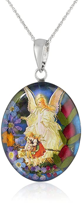 Amazon sterling silver guardian angel pressed flower pendant sterling silver guardian angel pressed flower pendant necklace 18quot mozeypictures Choice Image