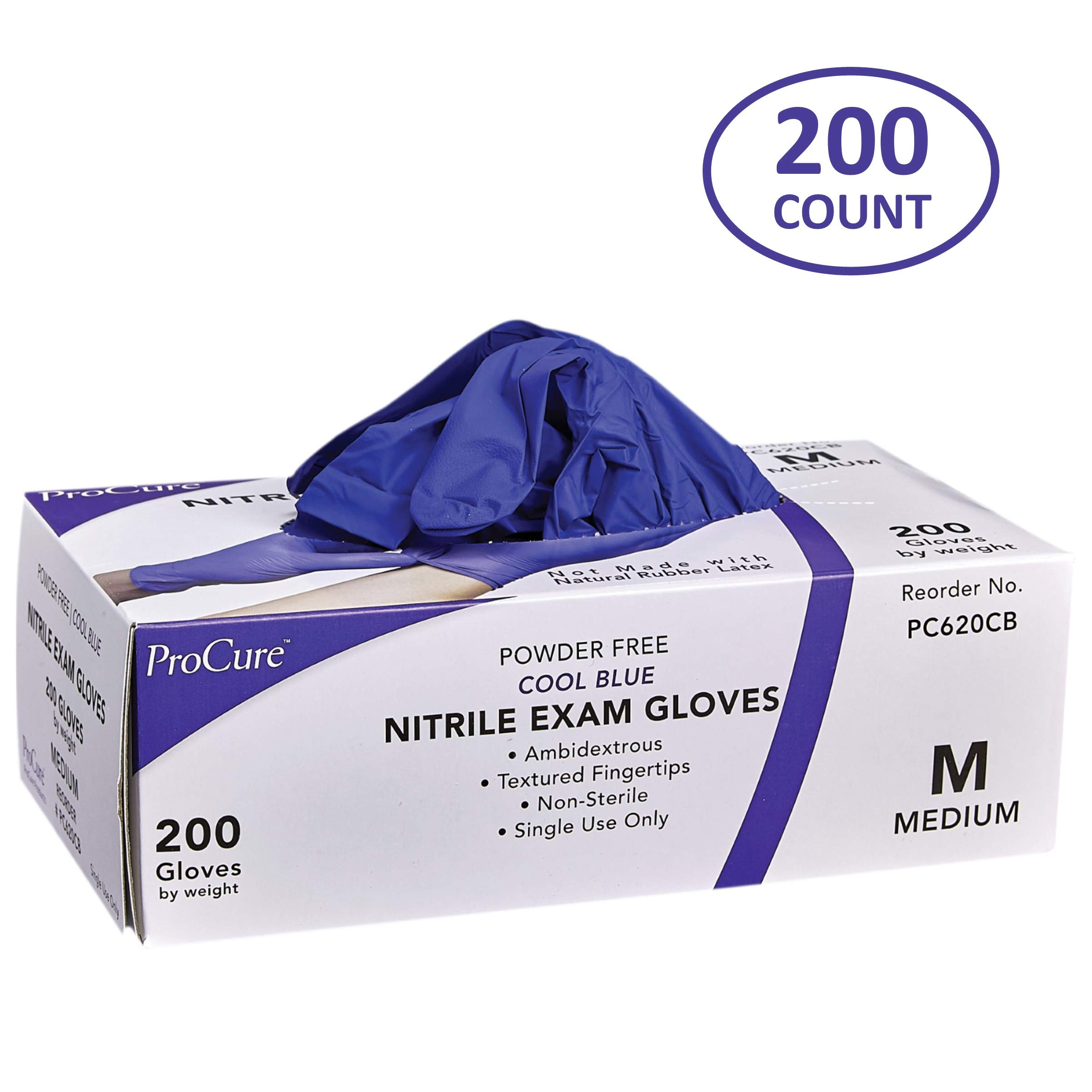 ProCure Disposable Nitrile Gloves - Powder Free, Rubber Latex Free, Medical Exam Grade, Non Sterile, Ambidextrous - Soft with Textured Tips - Cool Blue (Medium, 1 Pack, 200 Count) by Medacure