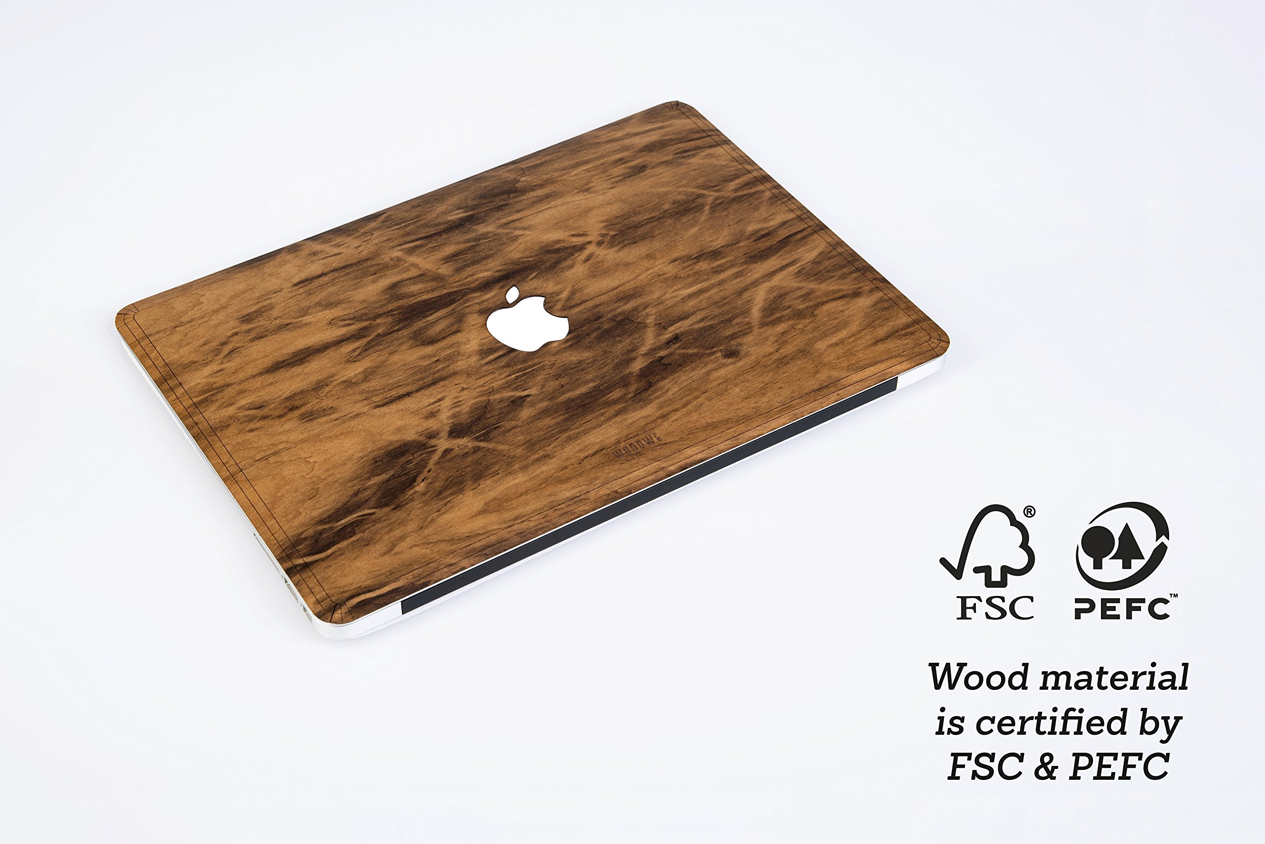 WOODWE Real Wood MacBook Case Cover Skin Sticker Decal for Mac pro 15 inch Retina Display | Model: A1398; Mid 2012 – Mid 2015 | Genuine & Natural IMBUIA Wood | TOP&Bottom Cover by WOODWE (Image #3)