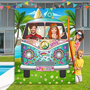 60's Theme Party Decorations Hippie Bus Photo Prop, Large Fabric Hippie Bus Backdrop Photo Door Banner Background Funny Groovy Games Supplies for 60's and 70's Theme Party Supplies, 59 x 47.2 Inch
