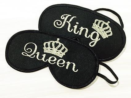 Lujo Rey y reina corona máscaras regalo de bodas para parejas, antifaz para dormir noche