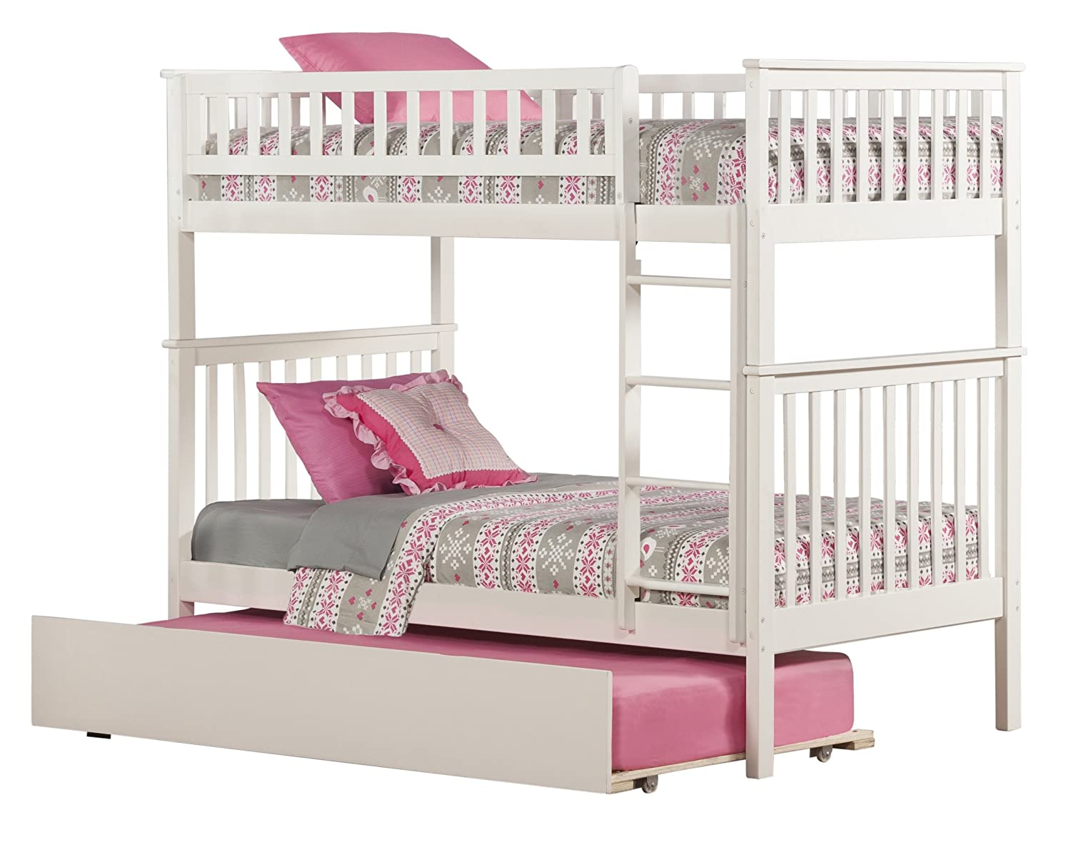 Amazon Com Woodland Bunk Bed With Urban Trundle White Twin Over Twin Kitchen Dining