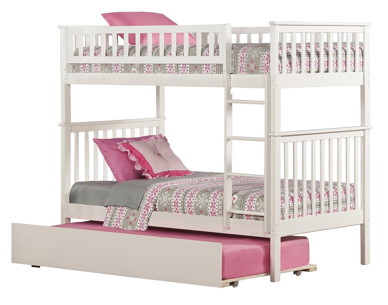 Twin trundle bed white - Amazon Com Woodland Bunk Bed With Urban Trundle White Twin Over Twin Kitchen Dining