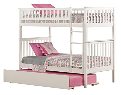 Amazon Com Woodland Bunk Bed With Urban Trundle White Twin Over