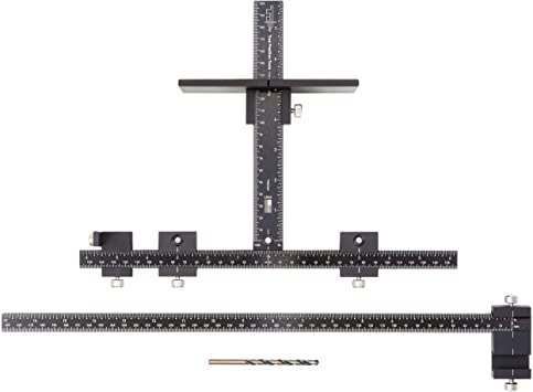 Original Cabinet Hardware Jig with Extended Ruler for Rapid Drawer Centering - Adjustable Drill Guide for Installation of Door and Drawer Front Knobs and Handles - True Position Tools - TP-1934E