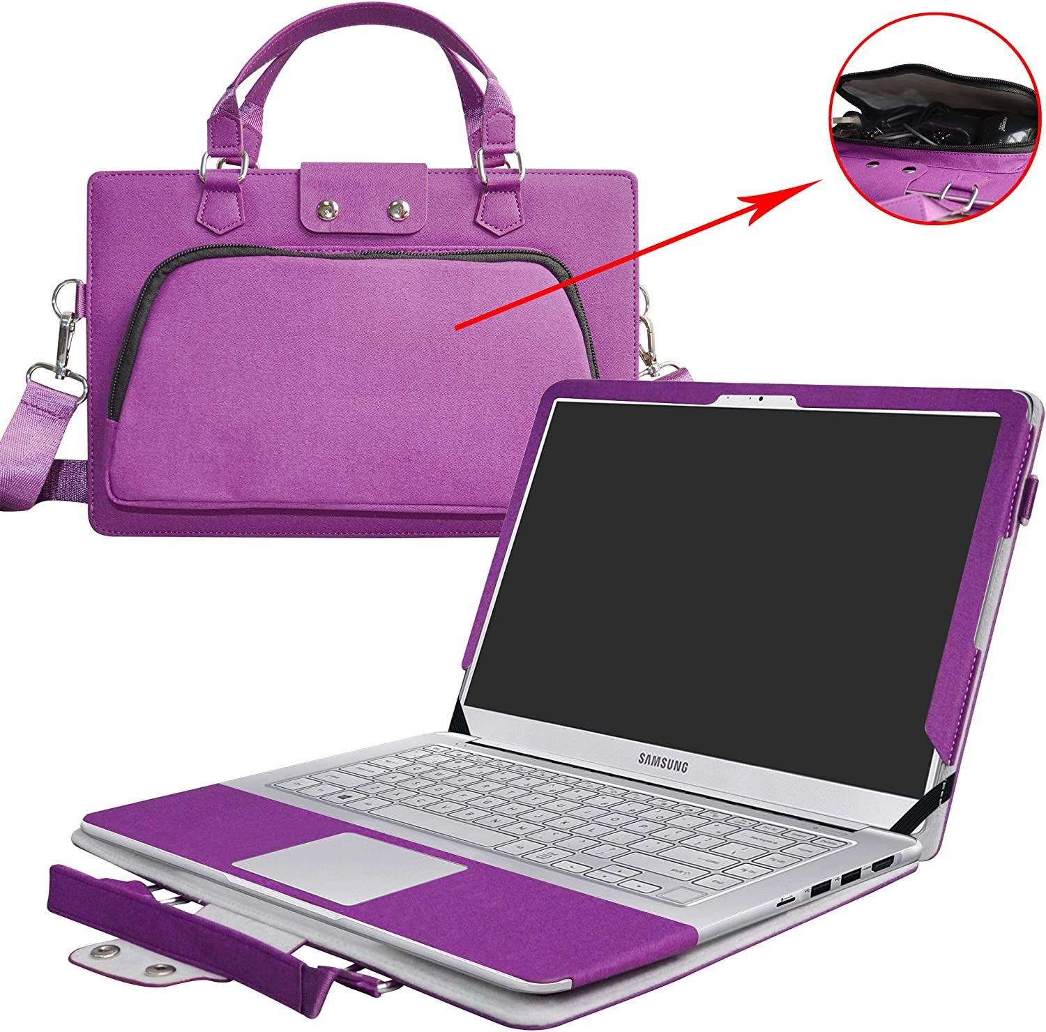 """Notebook 9 Pro 15 Case,2 in 1 Accurately Designed Protective PU Cover + Portable Carrying Bag for 15"""" Samsung Notebook 9 Pro 15 NP940X5M-X01US NP940X5M-X02US Laptop(Not fit Notebook 9 Series),Purple"""