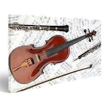 Violín instrumento musical del oboe clarinete de la orquesta sinfónica. Impresión sobre lienzo - Formato Grande - Cuadros modernos ECU: Amazon.es: Hogar