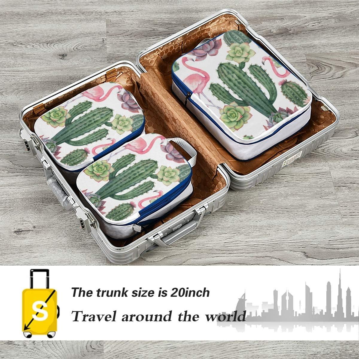 Pink Flamingo With Cacti 3 Set Packing Cubes,2 Various Sizes Travel Luggage Packing Organizers o