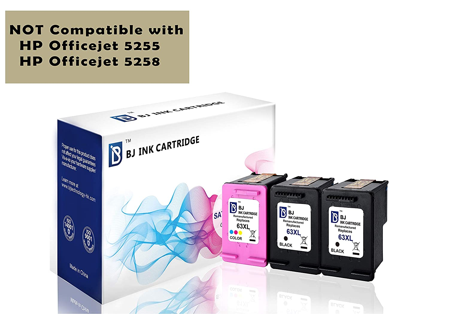 BJ Remanufactured Ink Cartridge replacement for HP 63XL Combo Pack (1 Black 1 Color)High Yield for HP DeskJet 1112 2130 2133 3630 3632 3633 3636 HP ENVY 4512 4516 4520 HP OfficeJet 3830 3832 4650 4652 4655