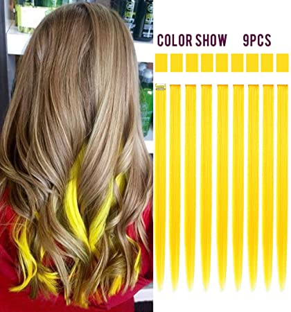 54f52af7f2f1f Image Unavailable. Image not available for. Color  Rhyme 9PCS Princess Party  Highlight Yellow Hairpieces Colored Hair Extensions Clip in On for Girls