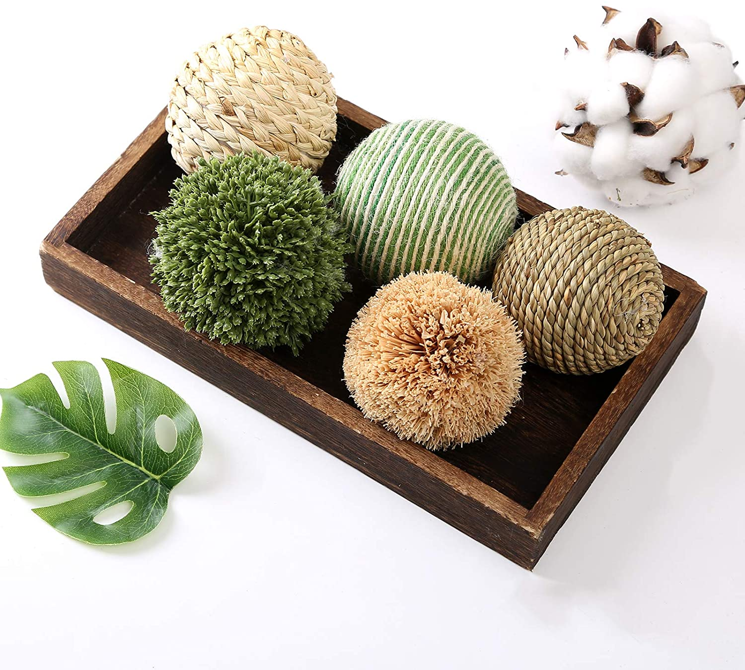 Ciroases 6pcs 3.5inch Woven Wicker Rattan Balls Decorative Ball Twig Orbs Green Orbs Vase Bowl Filler for Tabletop Decor …
