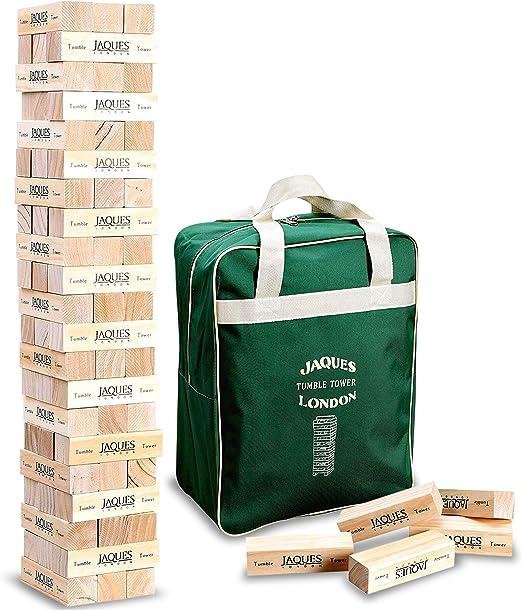 Giant Tumble Tower - Jaques de Londres - Incluye bolsa de lona. Grandes juegos de jardín para adultos y juguetes para niños. Juguetes de madera de Tumble Tower de mayor y menor