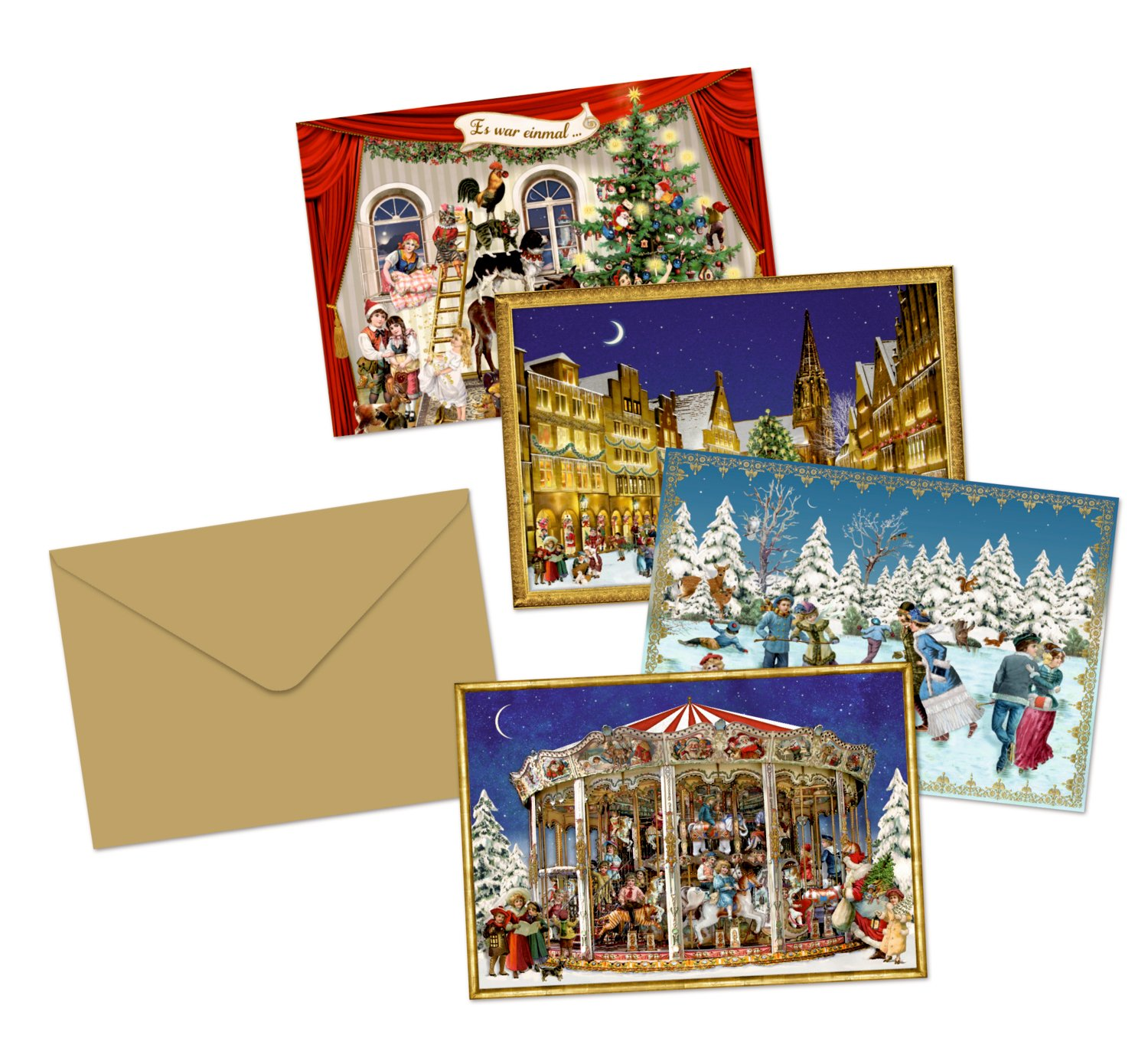 Coppenrath 'Victorian Selection of Little Advent Calendar Cards' Pack of 4 Different Designs
