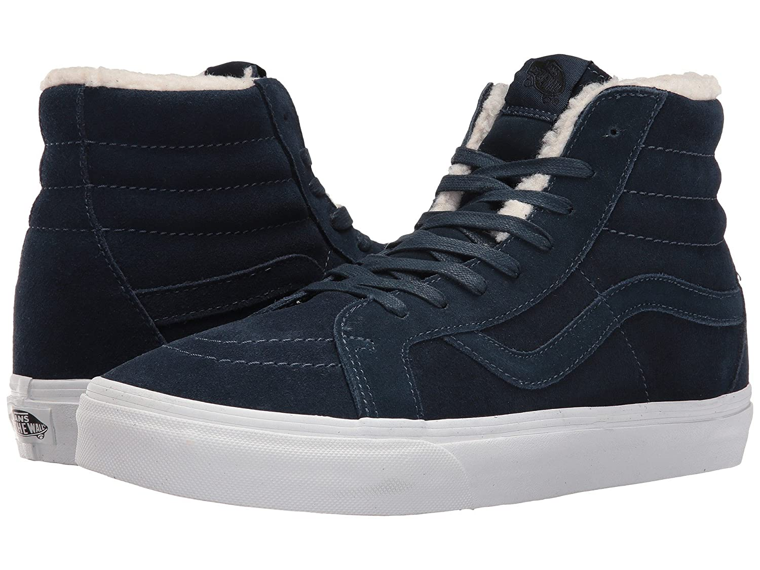 Vans Unisex Sk8-Hi Slim Women's Skate Shoe B01N4A7GPX 41 M EU / 10 B(M) US Women / 8.5 D(M) US Men|(Suede Fleece) Dress Blues/True White