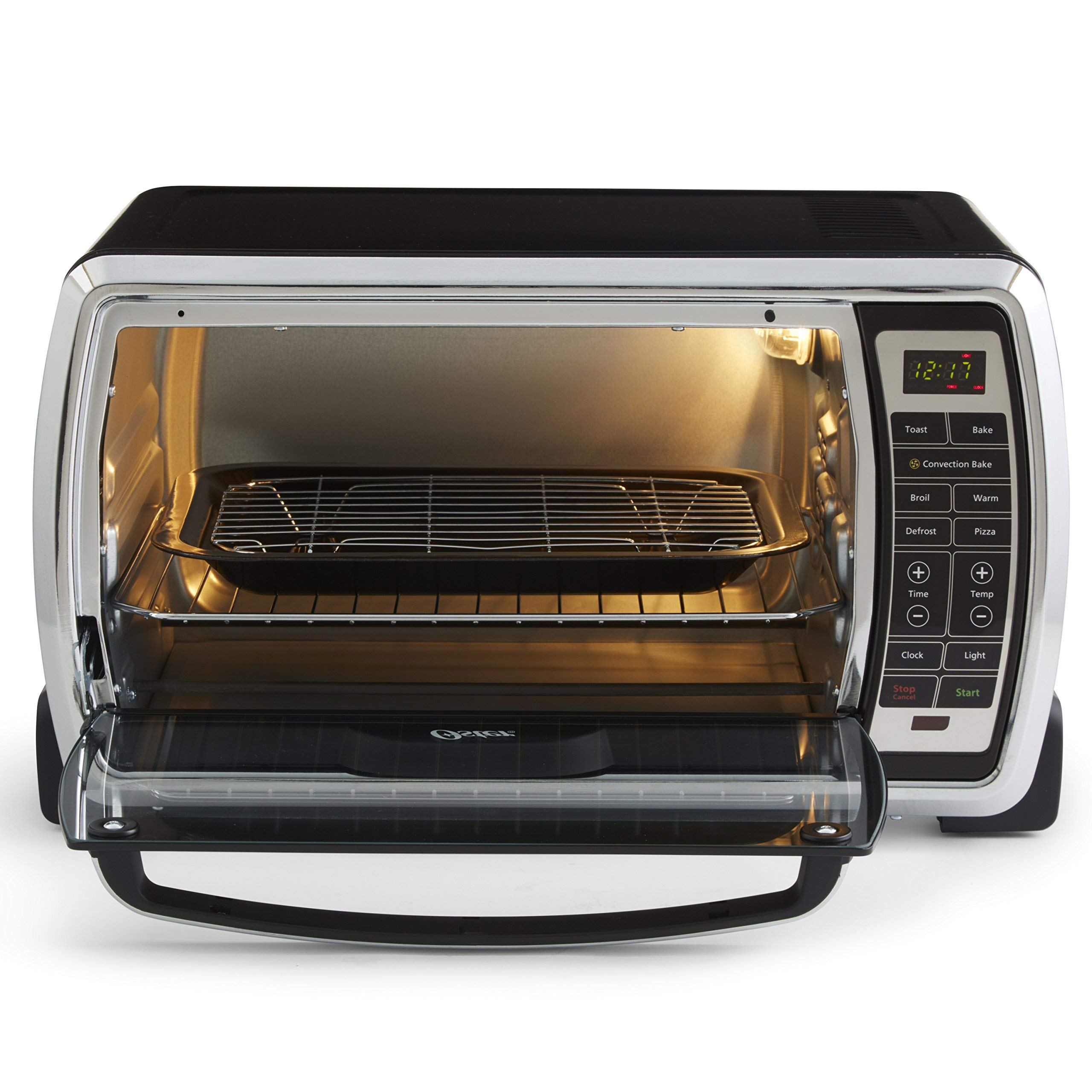 Oster Large Digital Countertop Convection Toaster Oven, 6 Slice, Black/Polished Stainless (TSSTTVMNDG-SHP-2) (Renewed) by Supportiback (Image #2)