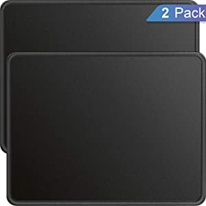 Ktrio 2 Pack Mouse Pad with Stitched Edges Mousepads Bulk with Lycra Cloth, Non-Slip Rubber Base, Waterproof Coating Mouse Pads for Computers, Laptop, Office & Home, 11x8.5in, 3mm, Black