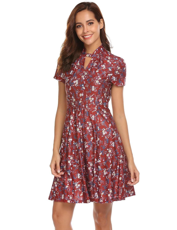Bricnat Damen Sommerkleid mit Blumendruck Cocktailkleid ...