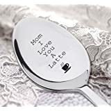 """Mom I love you a latte with """"cup"""" sign engraved on spoon - Christmas Gifts For Kids - Cute Gift - Spoon Gift"""