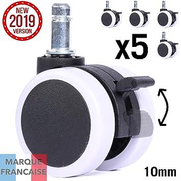 Takit Ruedas Silla Oficina con Freno 10mm - x5 Abrasivo Y Silencioso - Funciona en Cualquier Tipo De Suelo - Silla IKEA Compatible