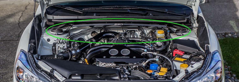 Fits 2014-2015-2016-2017-2018 Subaru Forester Black Powder Coat All Welded One Piece Design SSD Performance Strut Tower Brace