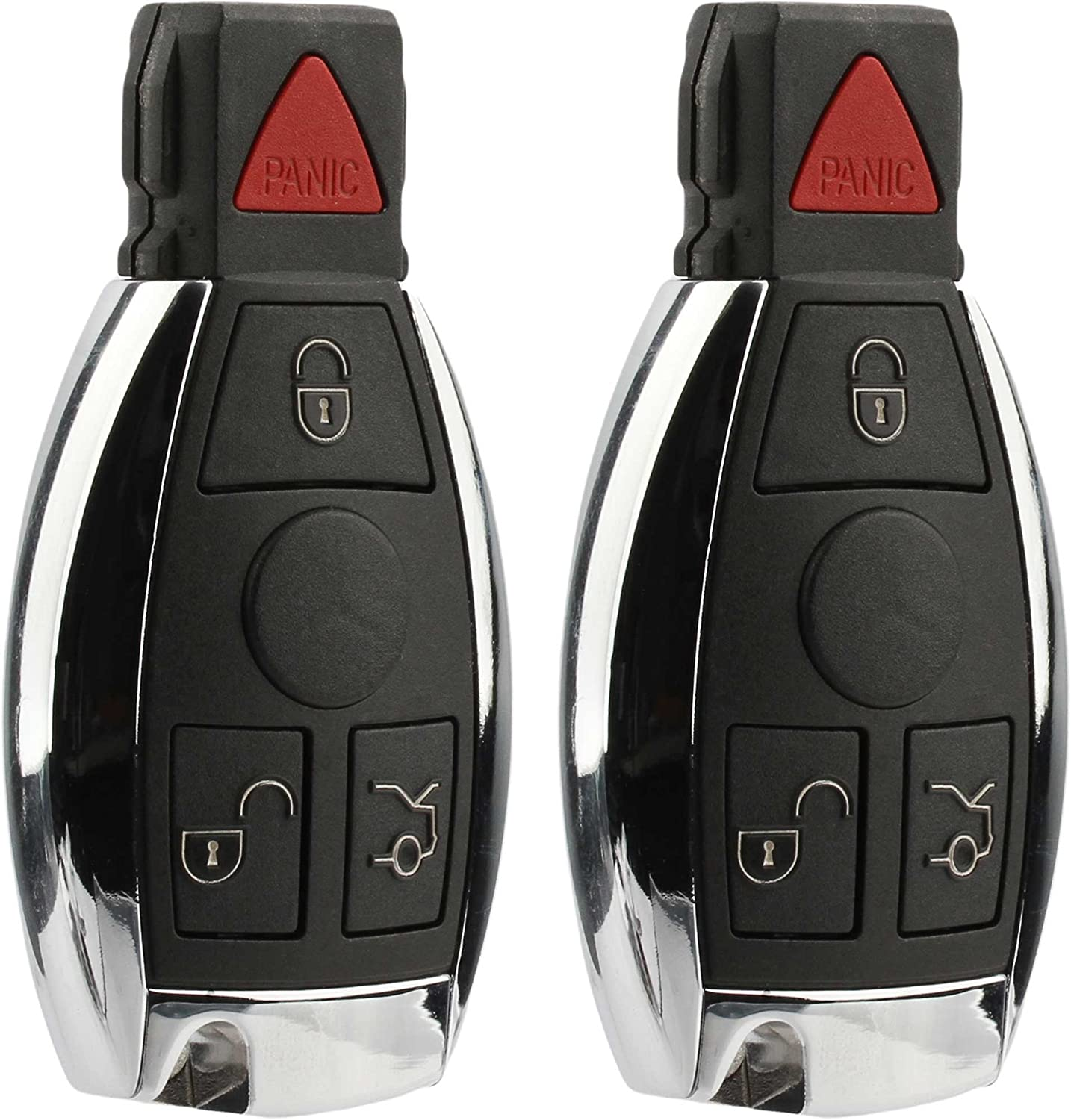 KeylessOption Keyless entry Car Remote Key Fob Shell Button Pad Battery Clip for IYZ3312 Pack of 2