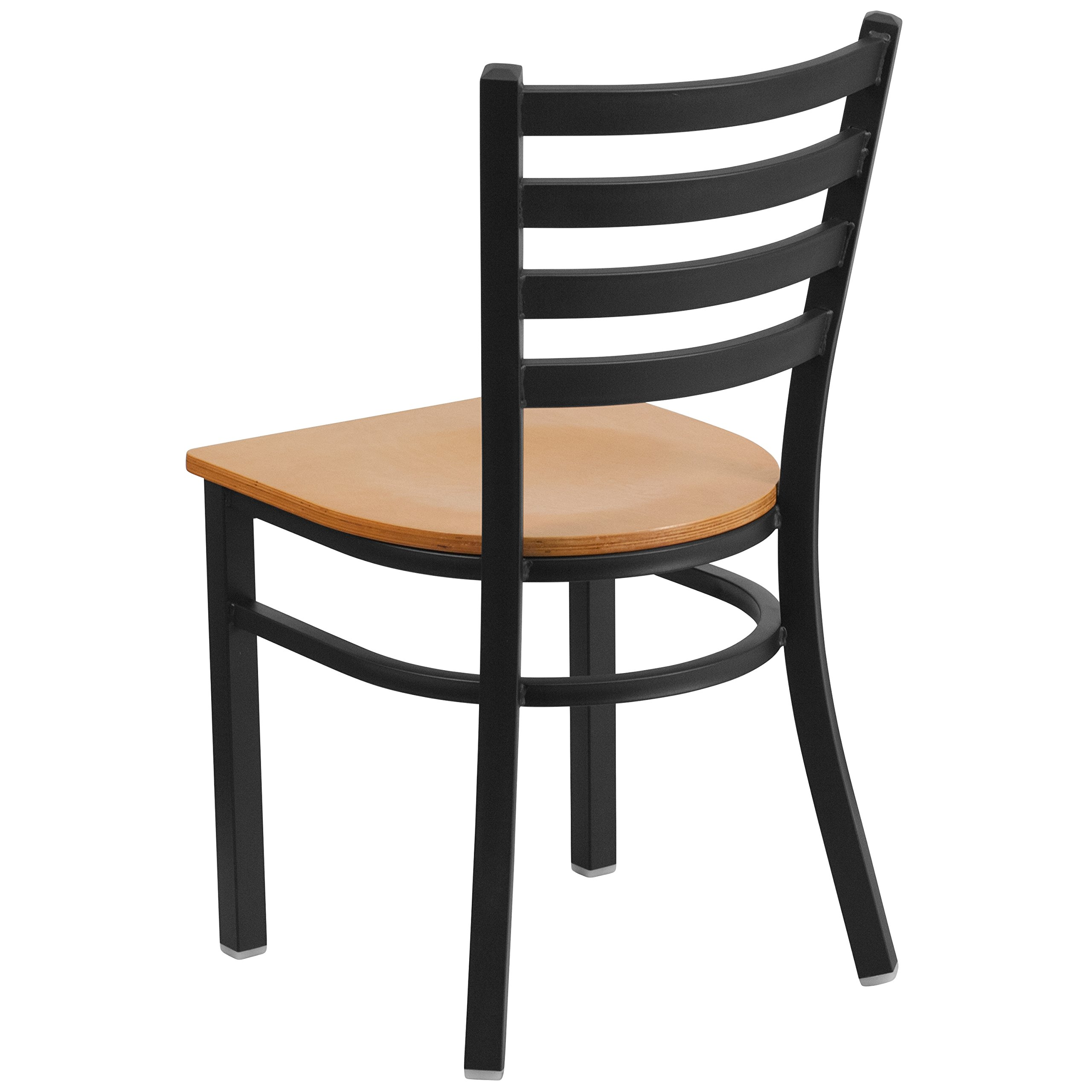 Flash Furniture HERCULES Series Black Ladder Back Metal Restaurant Chair - Natural Wood Seat by Flash Furniture (Image #3)