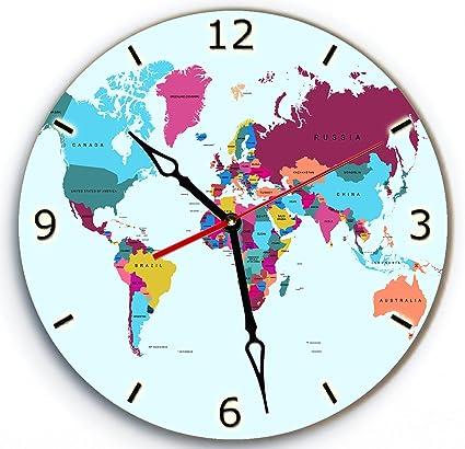 Clock World Map.Amazon Com Soficlock Wall Wood Clock World Map With Arabic Numerals