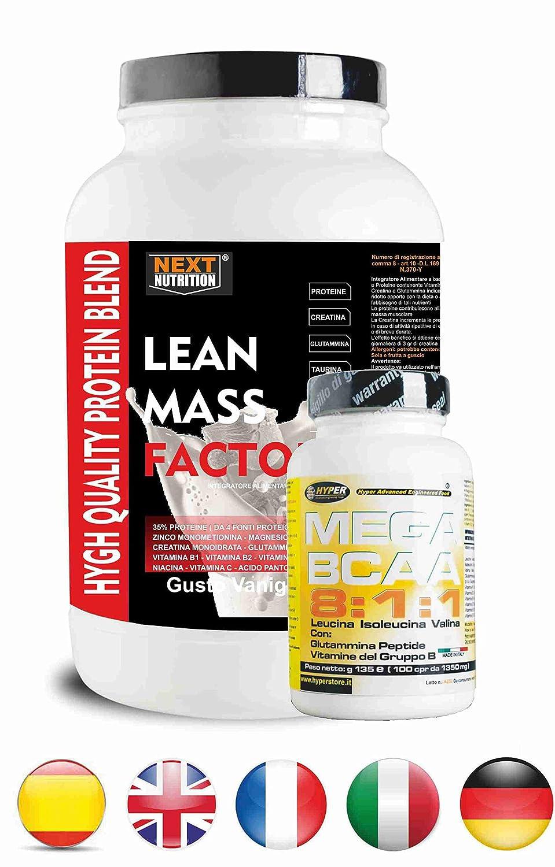 Proteína y BCAA 811 | 2 suplementos | Protein gr 1000 Taste Vainilla sin aspartamo con creatina glutamina taurina zinc vitaminas de magnesio + Aminoácidos ...