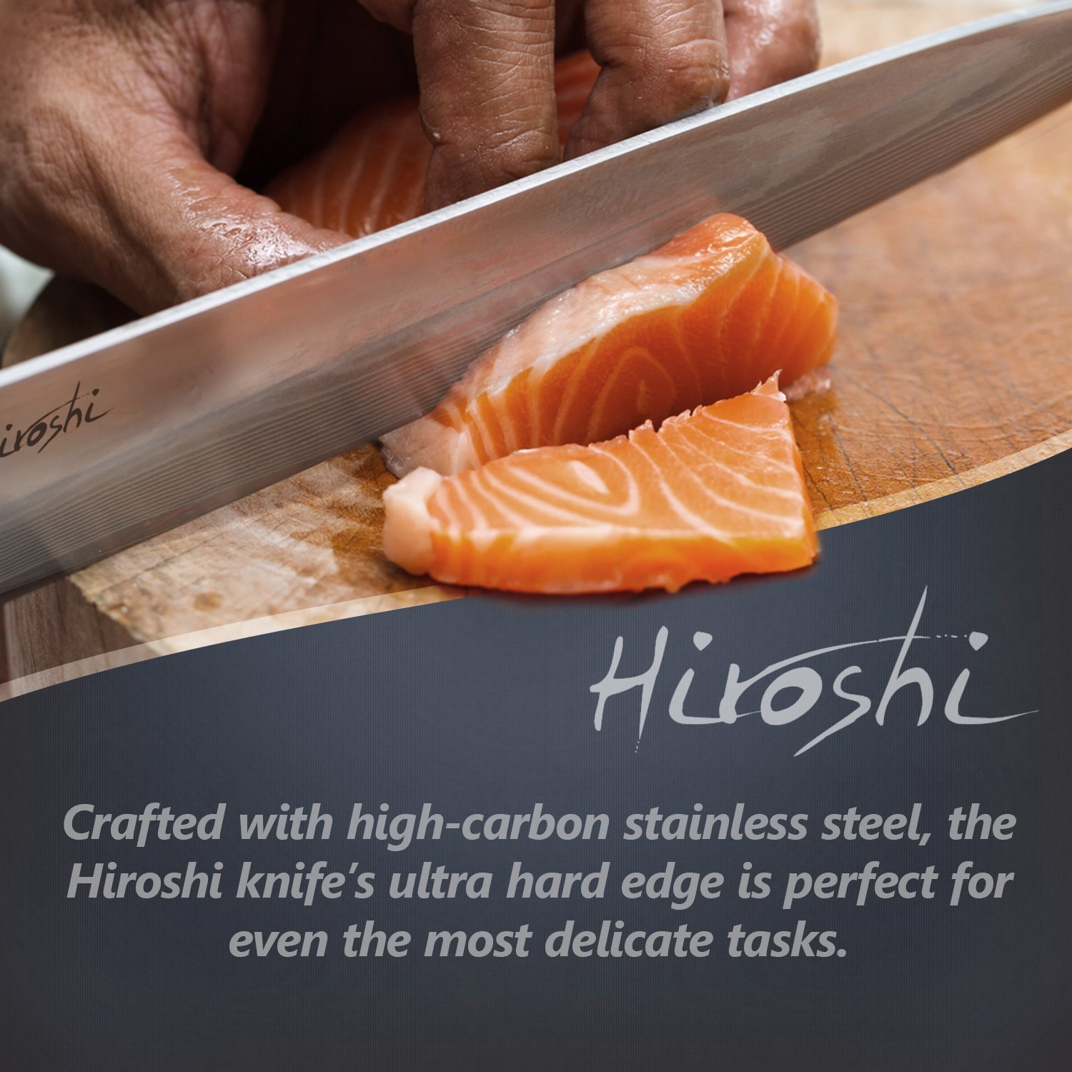 Premium Sushi & Sashimi Chef's Knife – 8'' Ultra High Carbon Damascus Steel – Presented In A Beautiful Gift Box (Black Handle) by HIROSHI (Image #6)