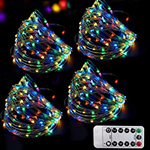 Bright Zeal 4-Pack 200 LED Multi Colored Fairy Lights Battery Operated with Remote Timer - 8 Mode Starry String Lights Multicolor Outdoor Waterproof - Colorful Long Fairy String Lights Color Changing