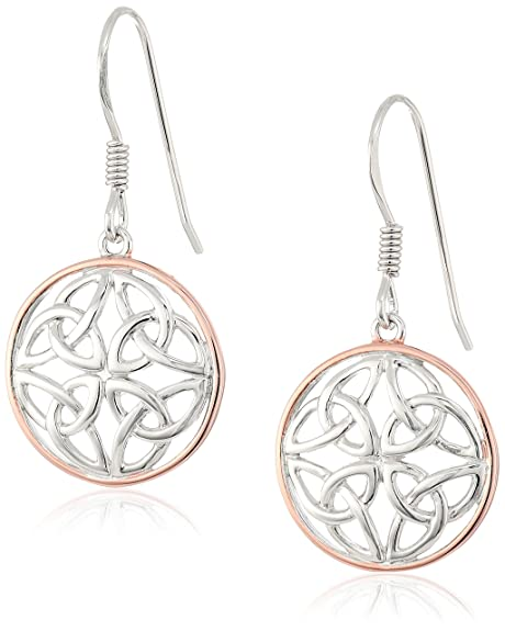 105a3384d 14k Rose Gold Plated Sterling Silver Two Tone Celtic Knot Round Drop  Earrings: Amazon.ca: Jewelry
