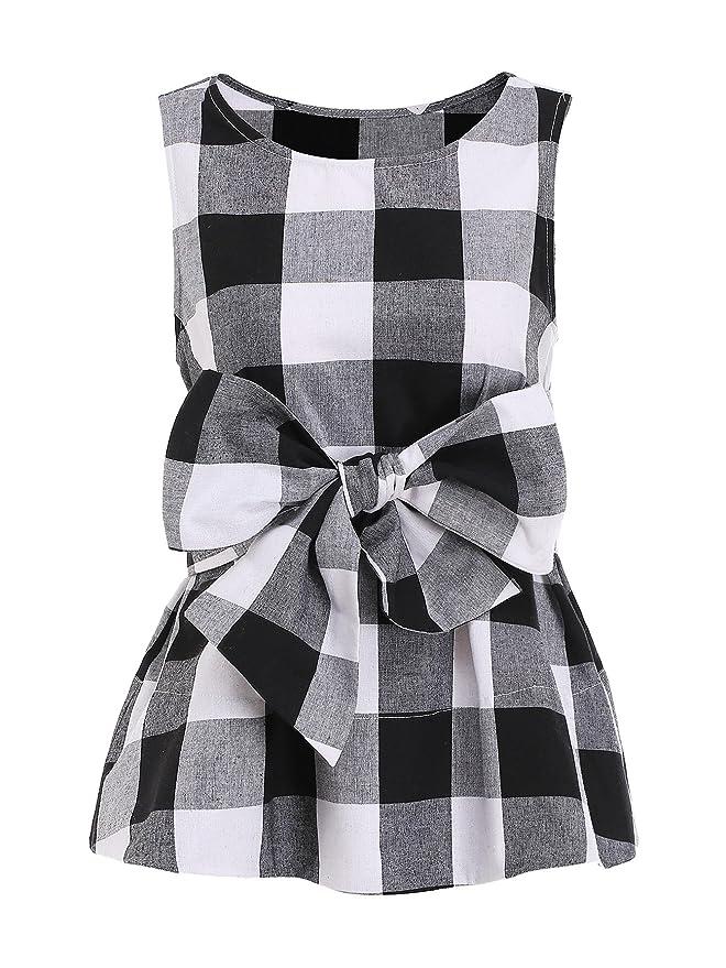 WDIRARA Women's Sleeveless Belted Checkered Shell Top Blouse Black XS
