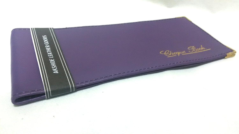 AKSHIDE Purple/Lilac Folding Leather StyleCheque Book Holder/Leather Style Cheque Book Cover