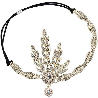doppelter gutschein große Auswahl an Farben Entdecken Sie die neuesten Trends Babeyond® 1920s Stil Blatt-Medaillon Rundes Stirnband mit Perlen Inspiriert  von Der Große Gatsby Accessoires für Damen