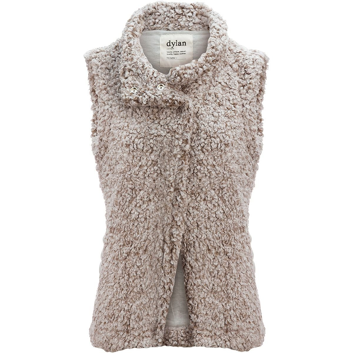 Dylan Solid Frosty Tipped Cozy Vest, Brown, X-Small