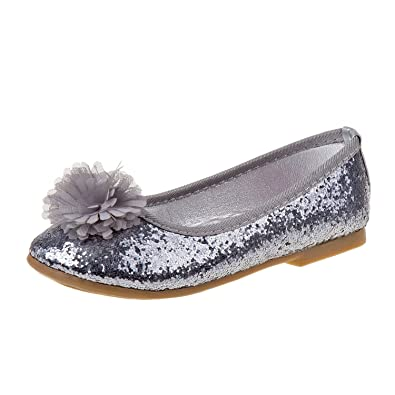 05e3ec2f2d Amazon.com | Rugged Bear Girls Glitter Ballet Flats - Flower Pom-Pom ( Toddler, Little Kid, Big Kid) | Flats